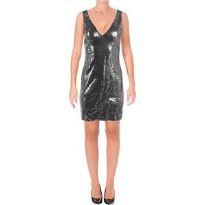 Aqua Capsule Silver Sequined Sheath Dress S